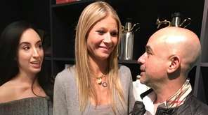 Gwyneth Paltrow, center, chats with guests Gianna Frocarro