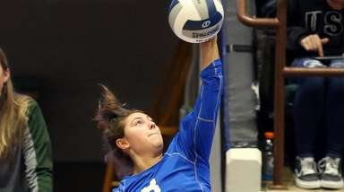 Nice serve by Long Beach's Grace Rosenberg during
