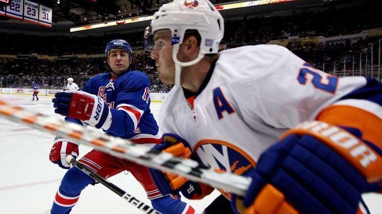 Brandon Dubinsky of the New York Rangers moves