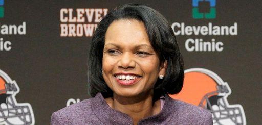 Former Secretary of State Condoleezza Rice talks with