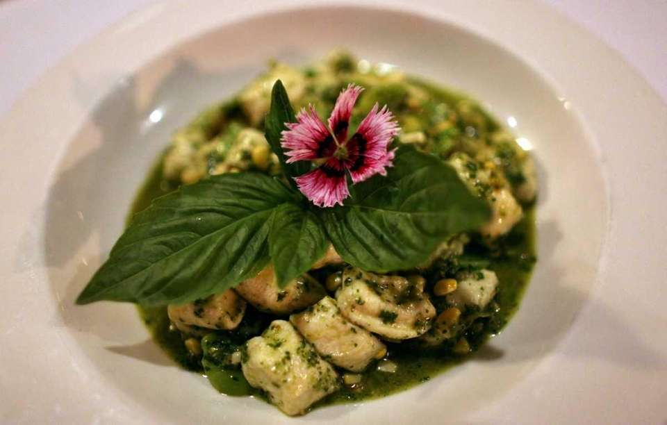 The ricotta gnocchi makes a colorful platter at