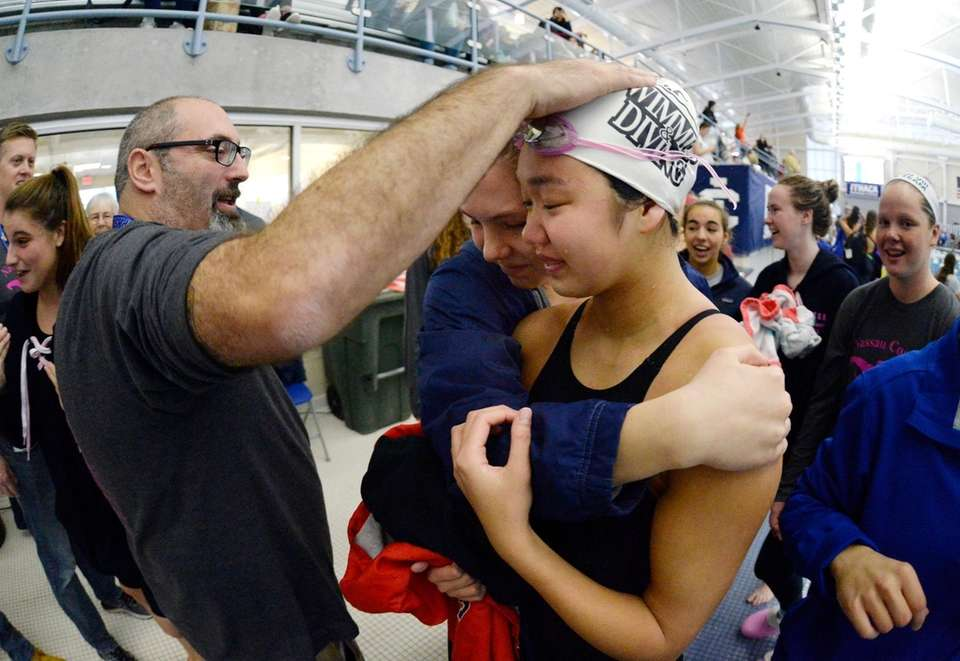 Great Neck South's Jessica Whang is congratulated on