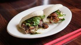 Taiwanese buns are filled with braised pork, crushed