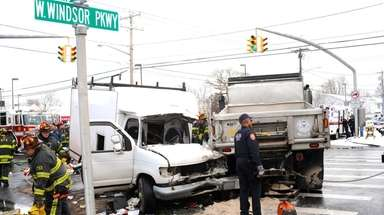 A Hempstead Town sand truck collided with a
