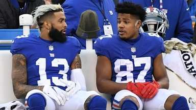 Giants wide receivers Odell Beckham Jr., left, and