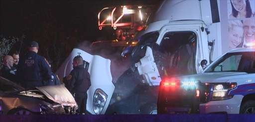 The scene of the tractor trailer crash on