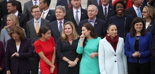 (L-R lower row, center) Representatives-elect Alexandria Ocasio-Cortez (D-NY),