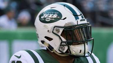 Jets strong safety Jamal Adams looks on during