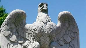 The eagle statue at the Hicksville LIRR depot