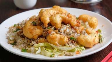 Salt and pepper shrimp have a delicate cornstarch