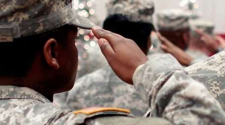 Soldiers at a welcome-home ceremony for armed service