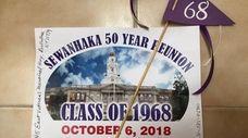A sign from Gloria Schramm's 50th high school