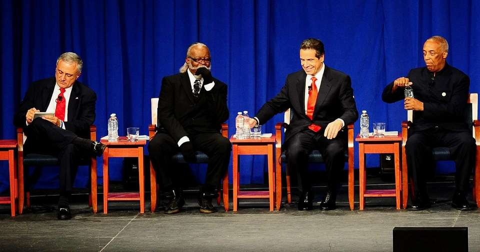 Gubernatorial candidates Carl Paladino, left, Jimmy McMillan, Andrew