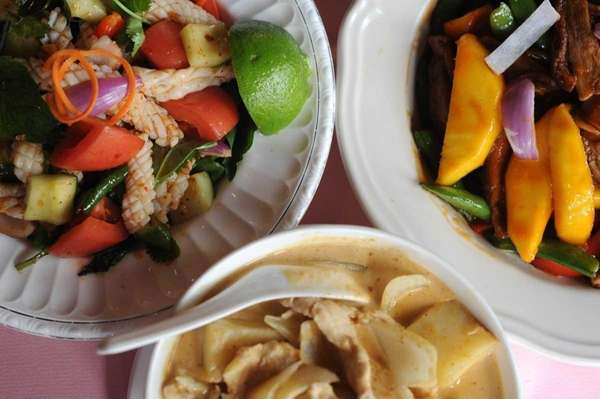 Calamari salad, massaman chicken curry and mango duck