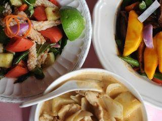 Calamari salad, massaman chicken curry and mango duck