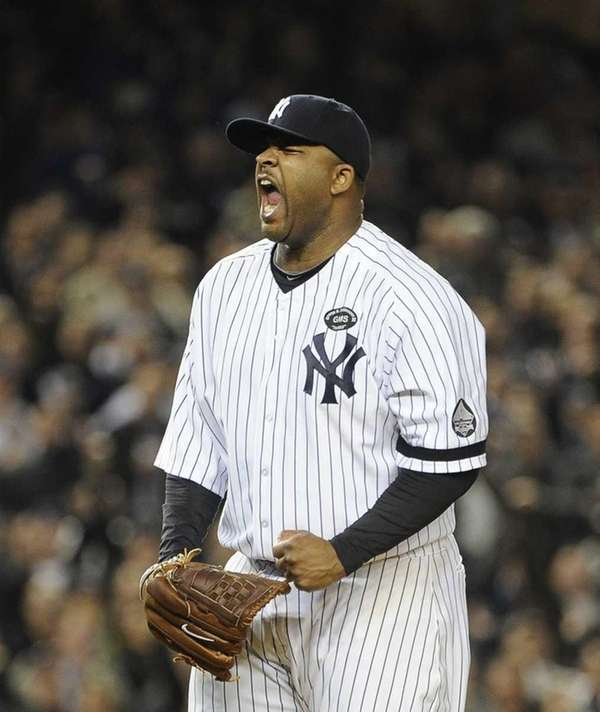 CC Sabathia pumps his fist after striking out