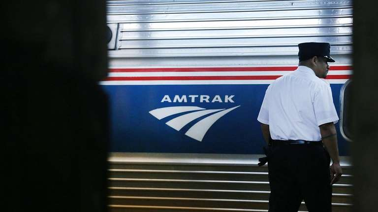 An Amtrak train headed from Penn Station to