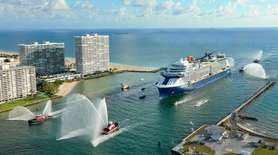 The Celebrity EDGE arrives in Port Everglades, in