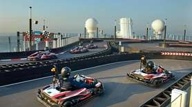 A view of the two-level Go-Kart track on