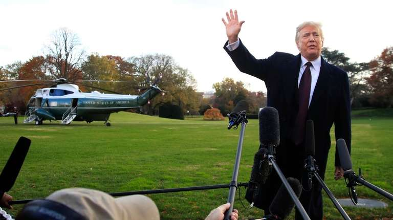 President Donald Trump speaks to the media last