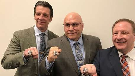 From left, Lane Lambert, Barry Trotz and Mitch