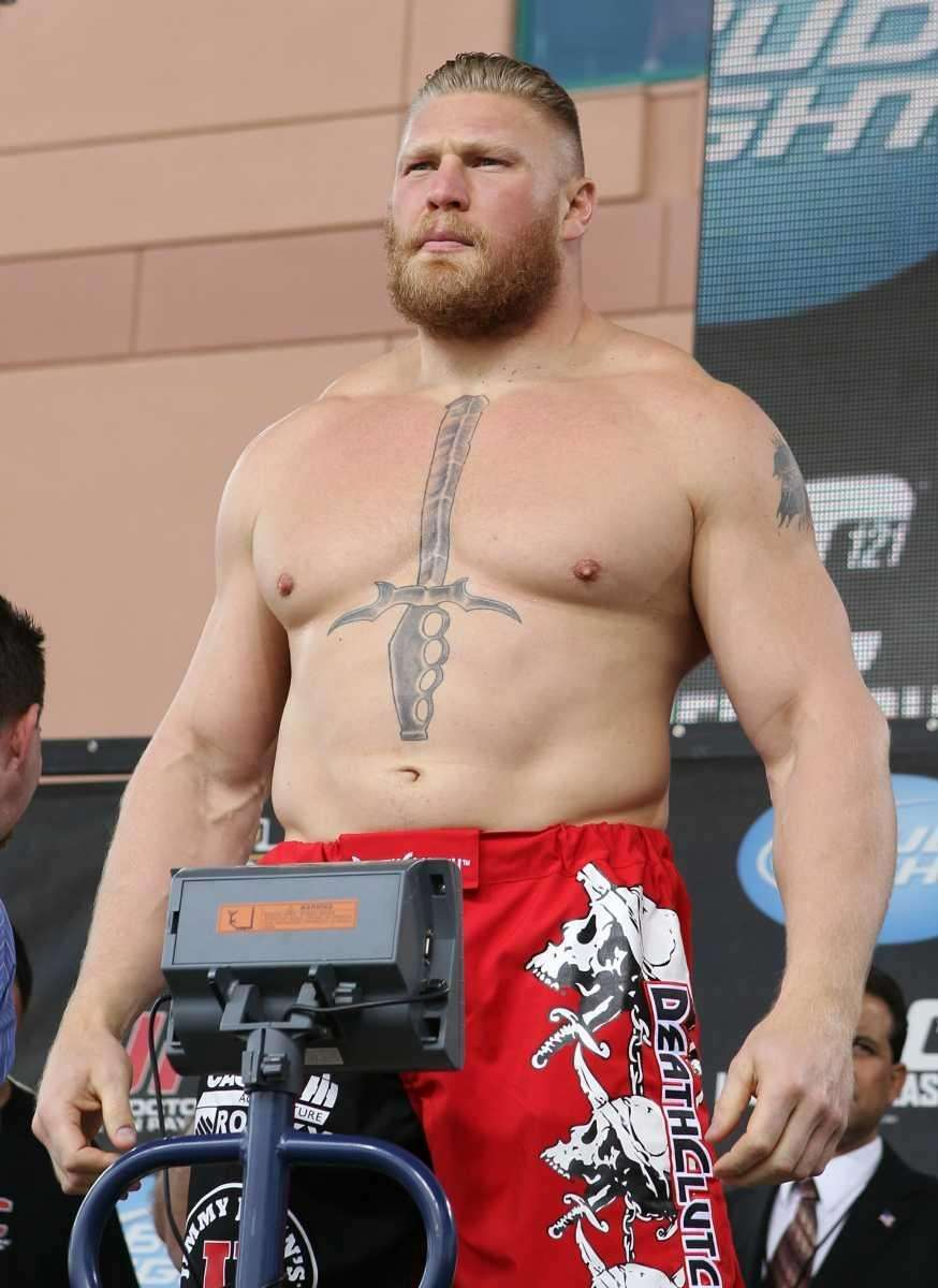 UFC heavyweight champion Brock Lesnar weighs in
