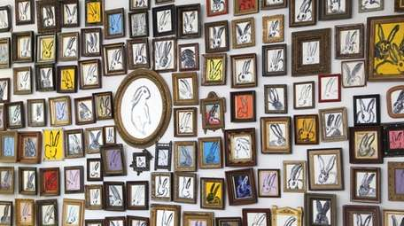 "Hunt Slonem's ""Bunny Wall"" is on display in"