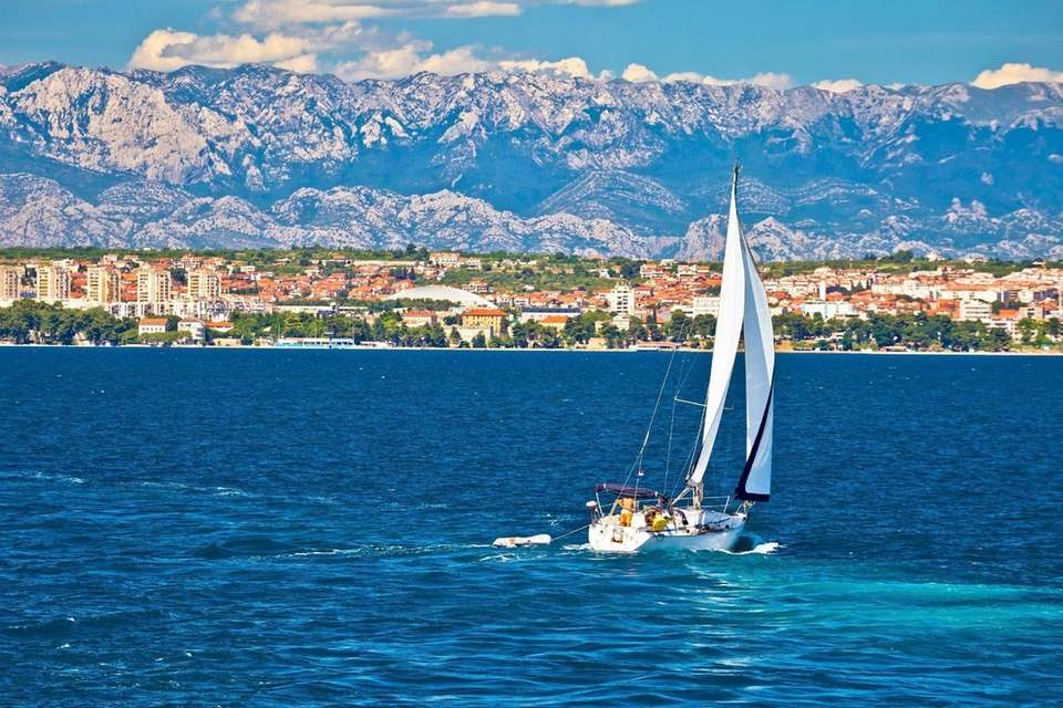 A sail boat in the waters of Zadar