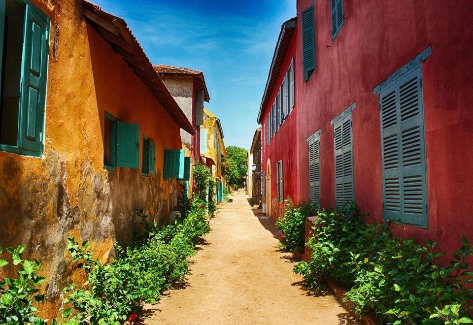 Street on Ile de Goree in Dakar.