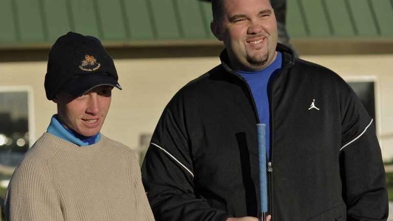 Golfer Matt Lowe (left) and reporter Mike Gavin
