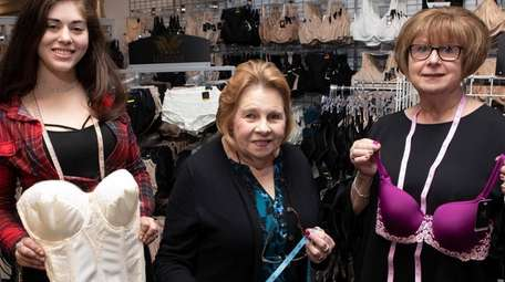 Bra specialists Ashley Belodoff, Virginia Kister and lingerie