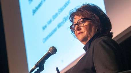 State Education Commissioner MaryEllen Elia speaks Wednesday with