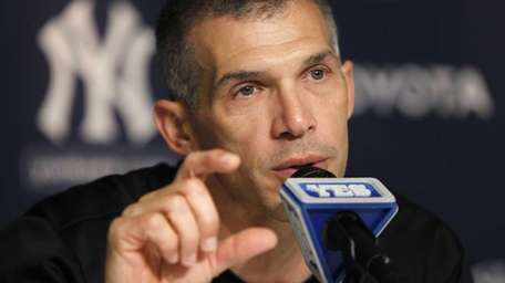 New York Yankees manager Joe Girardi answers questions