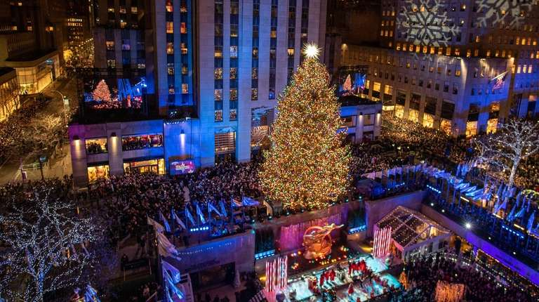 A 72-foot Norway spruce from upstate Wallkill was - Rockefeller Center Tree Lighting Kicks Off Holiday Season Am New York