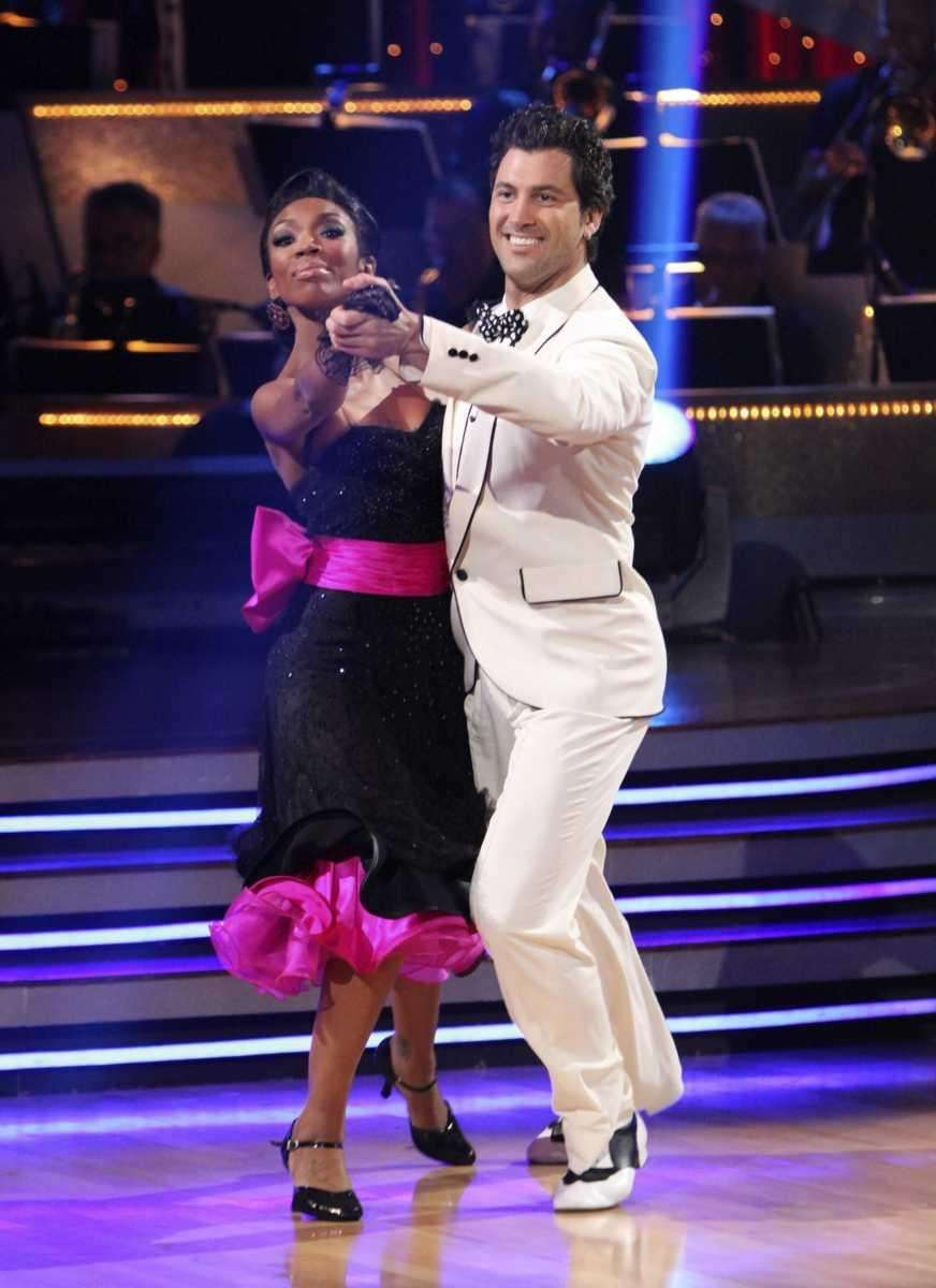 Brandy, left, and her partner Maksim Chmerkovskiy perform