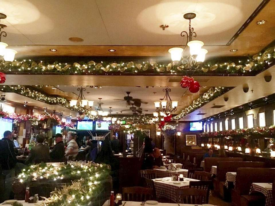 Holiday decorations at B.K. Sweeney's Bar & Grille