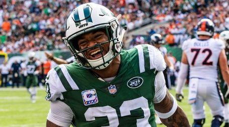 Jets strong safety Jamal Adams celebrates a stop