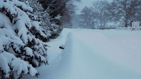 Cars are buried along a road in Yaphank