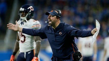 Chicago Bears head coach Matt Nagy yells during