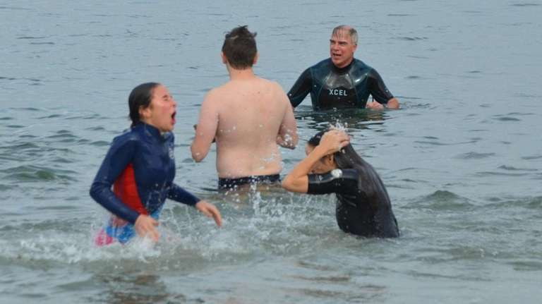 Swimmers plunge into the chilly waters at Crescent