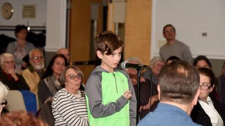 Jack Harrison, 10, speaks at the Bayport-Blue Point