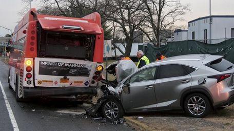 A westbound N70 bus was struck from behind