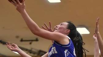 Nicole Petrocelli #45 of Hauppauge drives to the