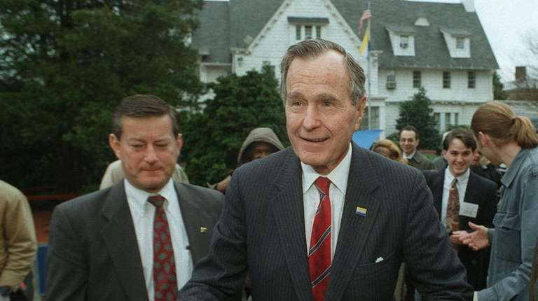 George H.W. Bush at Hofstra University in 1997.