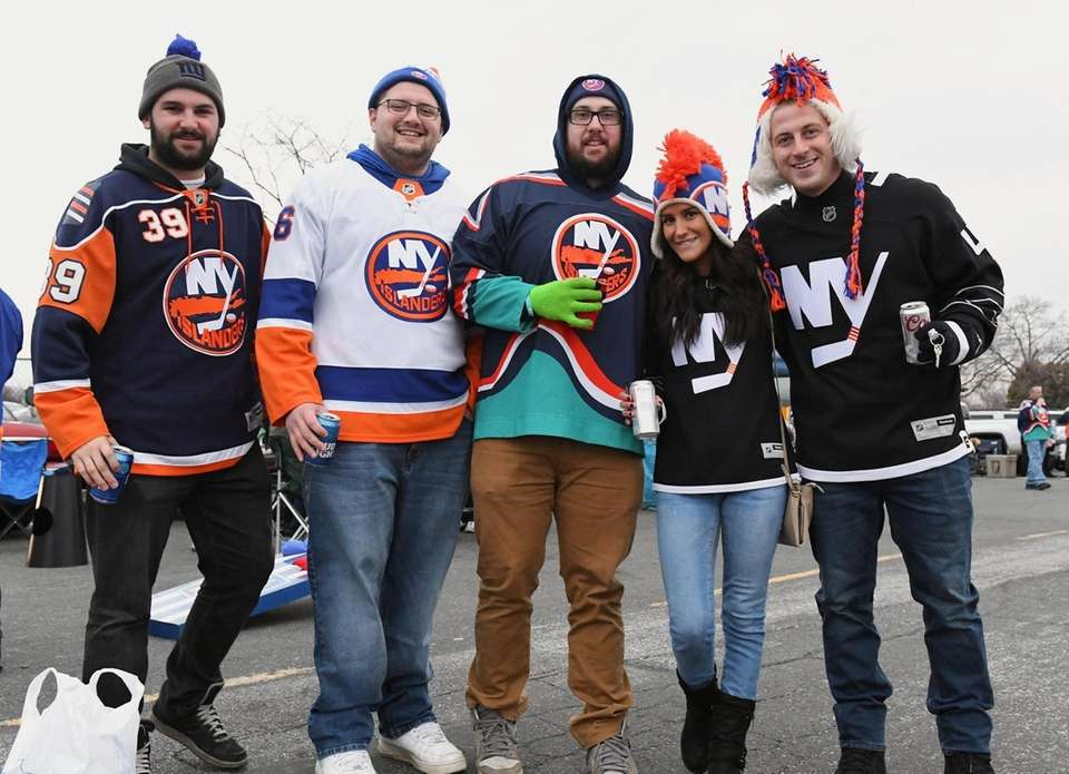 New York Islanders fans Chris Cutrone, Rob Sattler,