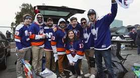 New York Islanders fans from Oakdale tailgate before