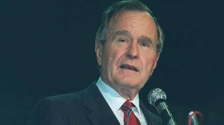 Former President George H.W. Bush speaking at a