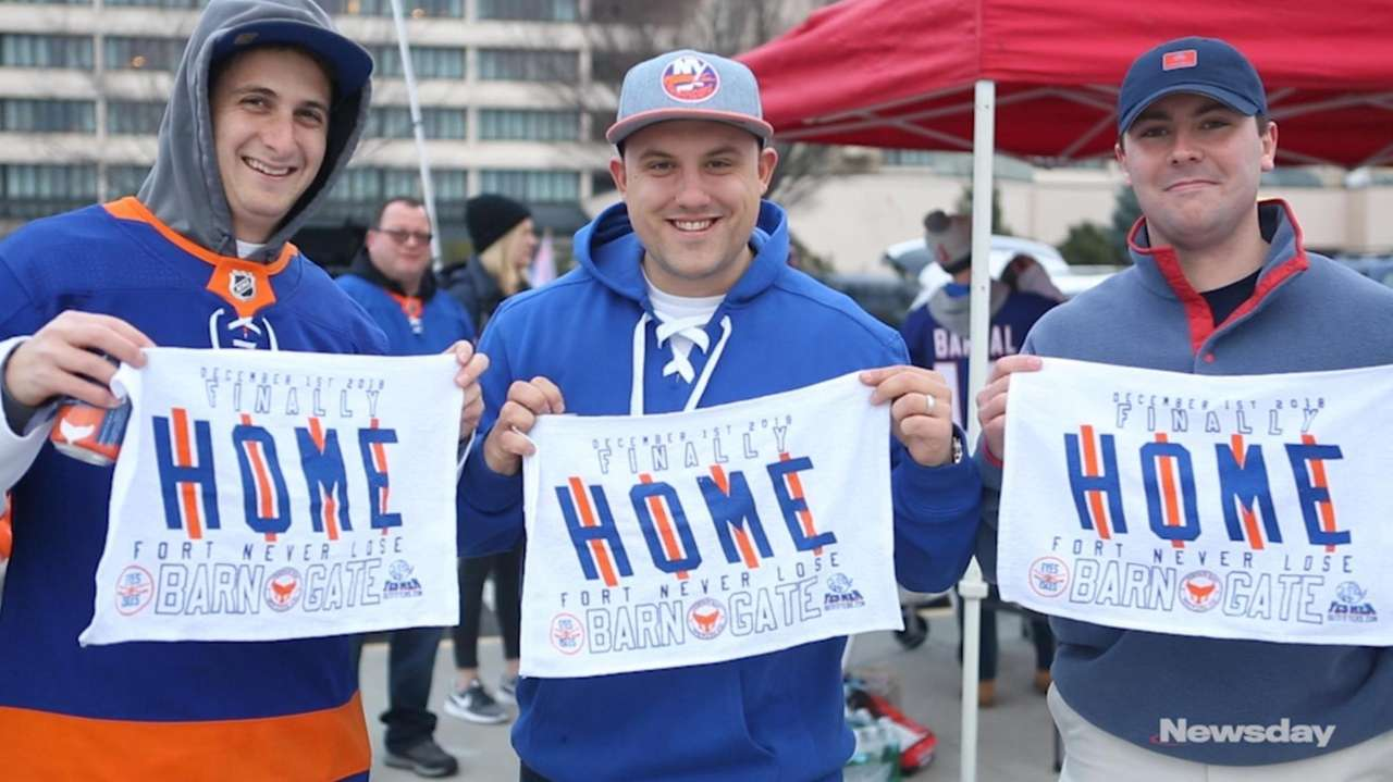 On Saturday, Islanders fans tailgated outside NYCB Live's Nassau Coliseum to celebrate the team's