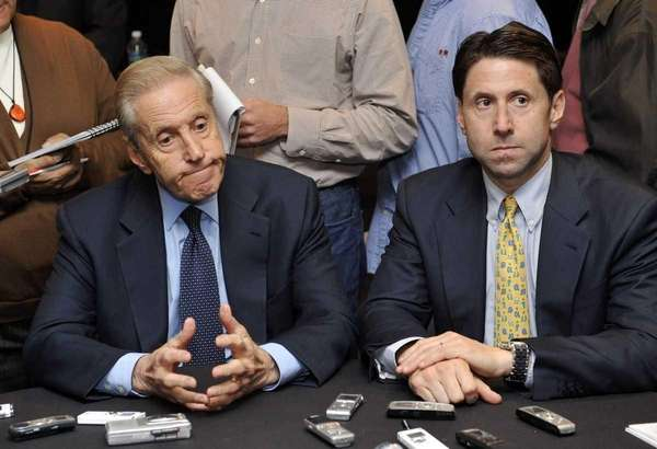 New York Mets owner Fred Wilpon, listens to