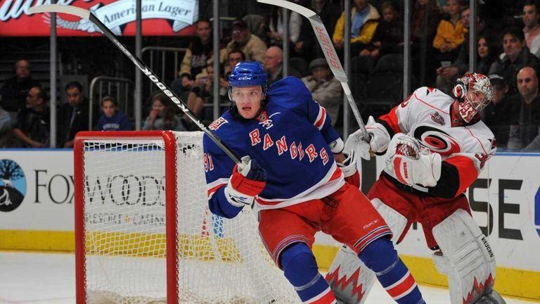 New York Rangers center Evgeny Grachev (91) skates